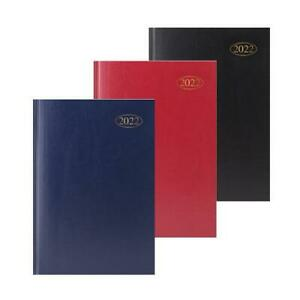 A5 2022 Day a Page Appointment Book Diary Organiser Planner Daily Red/Blue/Black