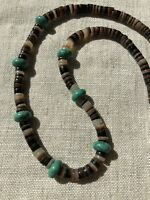 #747 Vintage 1970s Heishi, Turquoise Beads, Sterling Silver Bench Beads Clasp