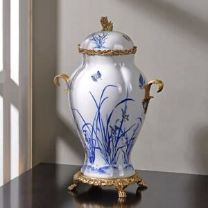 44cm European Style Chinoiserie vase Blue and White Chinese Ginger Jar