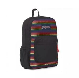 NWT! JanSport Unisex Cross Town Rainbow Stripes Backpack With Water Bottle Pouch