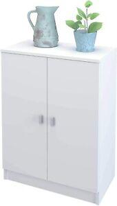 ✅ Armadietto Mobiletto Bianco Legno 2 Ante 1 Ripiano Multiuso per Bagno Cucina