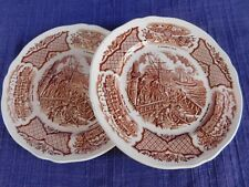 ALFRED MEAKIN Fair Winds Brown 2 BREAD PLATEs Set of TWO have more items AS-IS