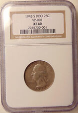 1943-S Washington Quarter - Scarce FS-101 DDO NGC XF40 - Very Nice looking Coin