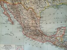 1897 Mexico Original Antique Map - Mounted and Matted