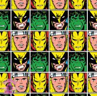 Marvel Superhero Faces Wolverine Hulk Thor Iron Man Cotton Fabric by the Yard