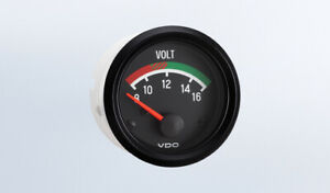 "VDO gauge Voltmeter genuine Cockpit 332-041, 2""/52mm, spin-loc, w/harness"
