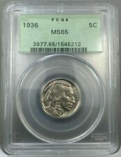 1936 5c Buffalo Nickel Coin PCGS MS65 OGH
