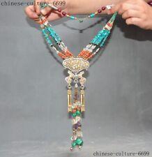 "20""   Tibet silver bronze turquoise crystal gem Feng Shui prayer amulet necklace"