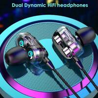 Wired Dual Drive Earphone Headphones Earphones Music Bass Stereo Headset Y3G1
