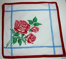 Vtg Batiste Hankie Pink Roses & White on White Dots Red Border  1960s