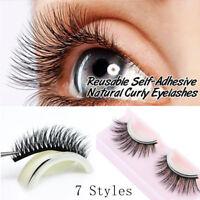 SKONHED 1 Pair 3D Mink Hair Self-Adhesive False Eyelashes No Glue Required Lash/