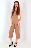 Women Ladies Strappy  tie back culotte jumpsuit camel Size 6-14 UK