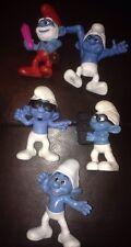 Lot 5 Smurf Pvc Figurines,2010 - 2013 Papa, Smooth, Hefty, Crazy & Brainy