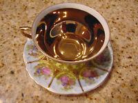 VINTAGE STW BAVARIA GERMANY GOLD FRAGONARD LOVE STORY TEA CUP SAUCER