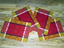 "4pc Damask Fabric Placemats~19"" x 13""~Orange/Red/Gold/Brown/Fall~NEW~Place Mats"