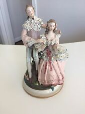 "Cordey Figurine Vintage Rare Man and Woman Lace Porcelain 10.5"" #4131-P Dresden"