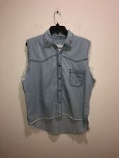 Brandy Melville Size M Sleeveless Chambray Button Front Studded Collar Shirt