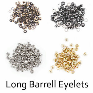 100pcs 4mm - 14mm Barrell Eyelets Grommets for Leather Belts Bags Washers Banner