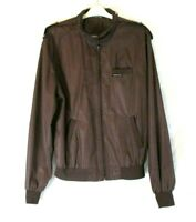 Members Only Cafe Racer Jacket Brown Lined Sz 44L Long Men Zip Long Sleeve CB64Y