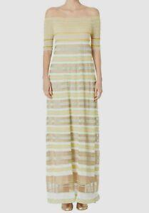 $720 M Missoni Women's Beige Sheer Striped Off-Shoulder Knit Maxi Dress Size 48