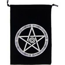EMBROIDERED PENTACLE BLACK VELVETEEN BAG  Wicca Witch Pagan Tarot Goth Punk