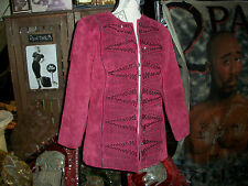 RED LEATHER Suede Beaded Unbranded Blazer Size S