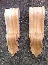x2 Large Decorative Carved Corbel Wood Raw - C24 - H32cm x W9.3cm