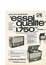 PUBLICITE ADVERTISING    1959   LA VOIX de SON MAITRE   PATHE MARCONI radio