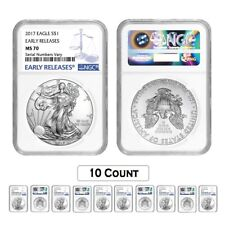 Lot of 10 - 2017 1 oz Silver American Eagle $1 Coin NGC MS 70 Early Releases