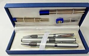 8 Pieces Parker Pen Pencil sets Silver Chrome Stationery Writing set