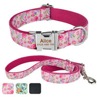 Adjustable Personalized Dog Collar Free Engraved Puppy ID Name Nylon Leash Lead
