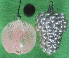 Lot of 2 Vintage 1930's Mercury Christmas Ornament 3� Grape Cluster & Apple