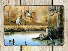 decor stores plaque Duck Hunting cabin country metal tin sign