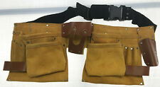 NEW! Men's Double Leather Pouch Tool adjustable Belt