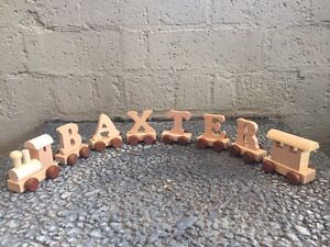 Wooden Name Train Personalised Baby Birthday Christening Keepsake Easter Gift