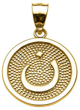 "14k Yellow Gold Arabic Letter ""nuun"" N Initial Charm Pendant"