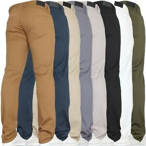 Mens Chino Jeans Slim Stretch Skinny Trousers Pants Waist Sizes New