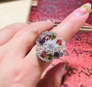 max color CZ stones flower shape fashion ring size R 9