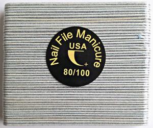 50pcs Mini Manicure Nail File Zebra 80/100 Grit Wood Center 13cm Travel Size