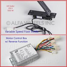 500W 24V Controller w Reverse+Foot Throttle Pedal f electric motor go Kart DIY