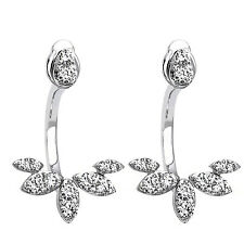 0.80ct Diamond 14k White Gold Behind The Ear Floating Jacket Wedding Earrings