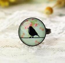 Vintage Retro Elegant Ring Adjustable Bronze Black Bird Glass Gem Ring Jewelry @