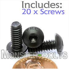 "#10-24 x 1/2"" - Qty 20 - BUTTON HEAD Socket Cap Screws - Alloy Steel Black Oxide"