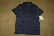 NWT Boys GUESS Blue Hand Dyed Washed Striped Back Printed Polo Shirt X-Large 20