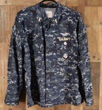 USN US Navy Blue Camo Working Uniform Blouse Coat Top L Large Regular