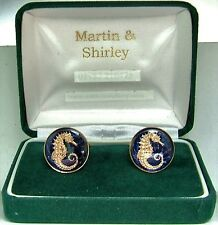 SEAHORSE cufflinks made from Singapore coins in Blue and Gold