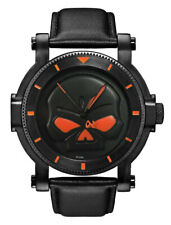 Harley-Davidson Men Bulova Black Willie G Skull Watch 78A114 READ DESCRIPTION