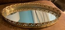 Vintage Mirror Vanity Tray Perfume Small Brass Gold Tone Oval Gold Filigree Wow!