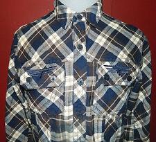 Rock Revival Men's Medium M Plaid Long Sleeve Button Shirt Blue Brown White EUC