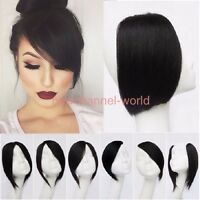 Hot straight Long Side Fringe Bangs Clip In Hair Extensions Real Synthetic Piece